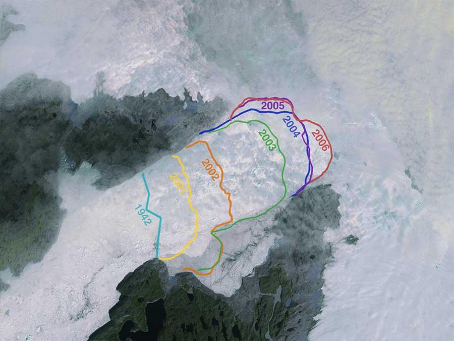 Changes in the calving front of Greenland's Jakobshavn glacier between 1942 and 2006. Jakobshavn is Greenland's largest outlet glacier, and drains 6.5% of Greenland's ice sheet area. Image courtesy of NASA's Scientific Visualization Studio.