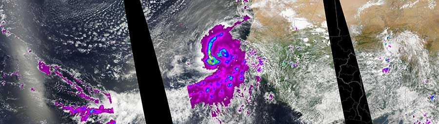 Hurricane Fred off the coast of West Africa - feature grid