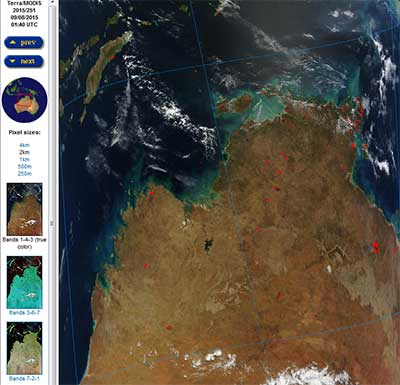 A MODIS Terra Rapid Response true color image of the northwestern coast of Australia from September 8, 2015. The red dots over the land area are hot spots detected by MODIS' thermal anomaly algorithm. Hot spots detected by MODIS are designated as the center of an approximately 1 square km pixel that may contain one or more fires or other thermal anomalies (such as a gas flare from an active oil well). Image courtesy NASA LANCE.