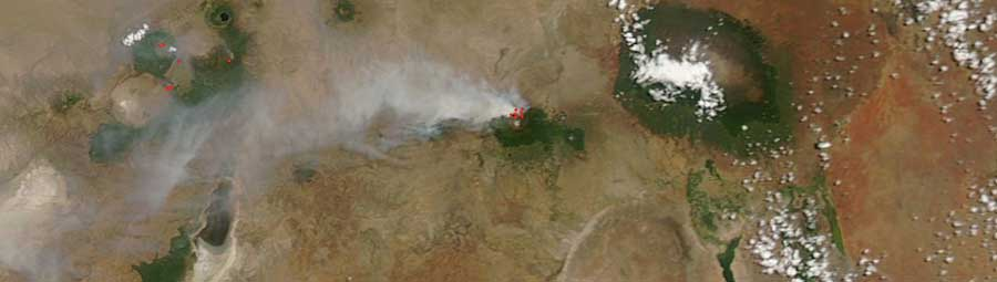 Smoke plume from Mount Meru, Tanzania