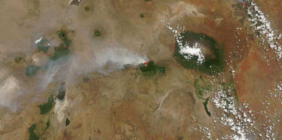Smoke plume from Mount Meru, Tanzania