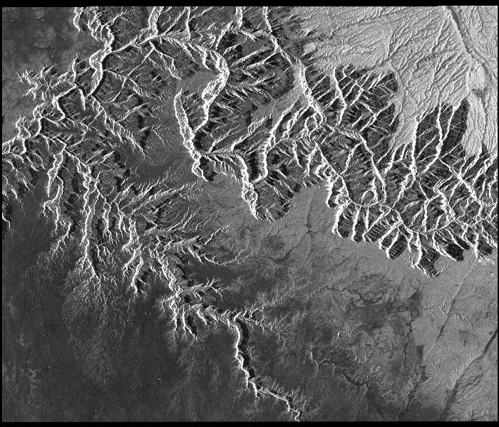The Grand Canyon shows up in sharp relief in this ALOS-1 PALSAR image from January 17, 2008. Image courtesy NASA ASF DAAC, © JAXA/METI 2008.