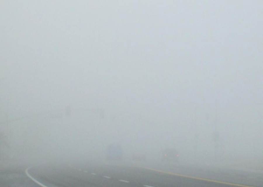 Photograph of very dense fog above a road
