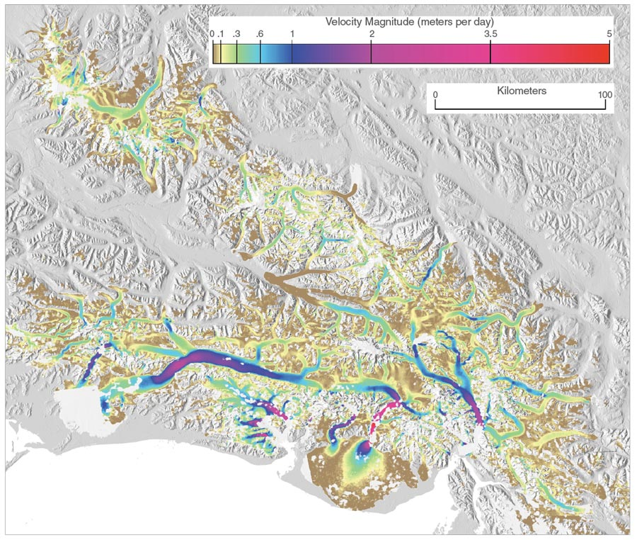 Satellite data image showing flow speeds of glaciers in southeast Alaska