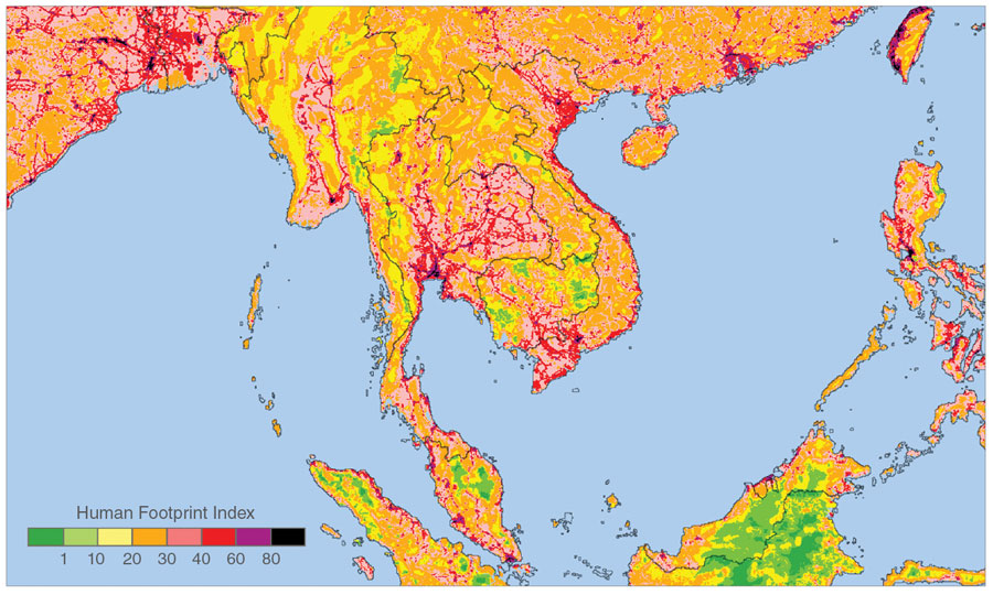 Map showing human impacts on the environment in Southeast Asia