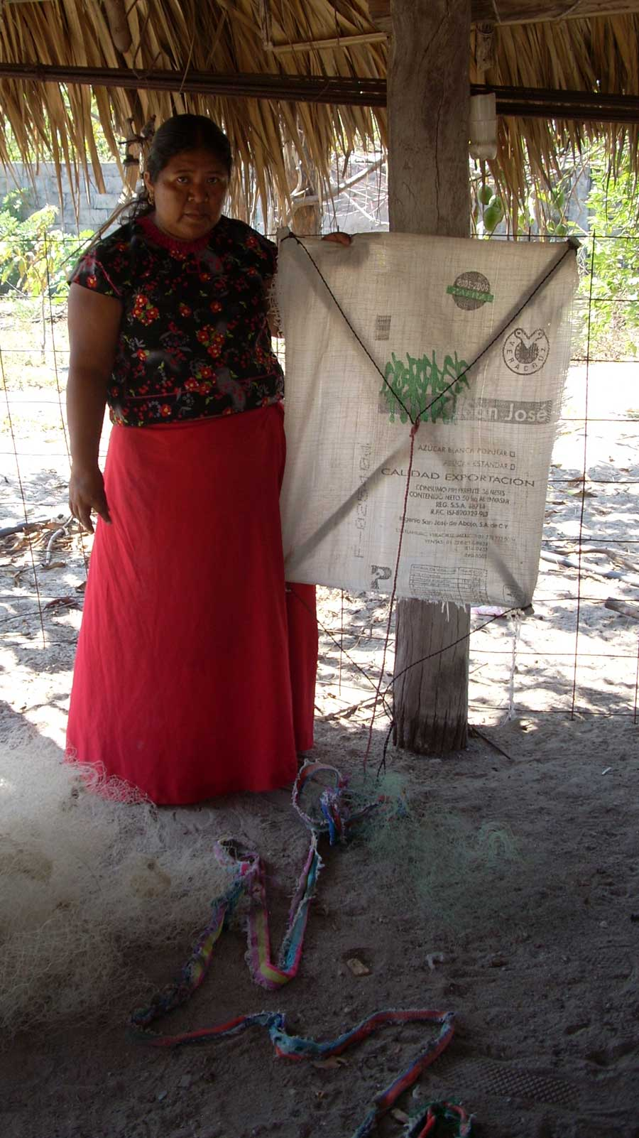 Photograph of woman holding a fishing kite and nets