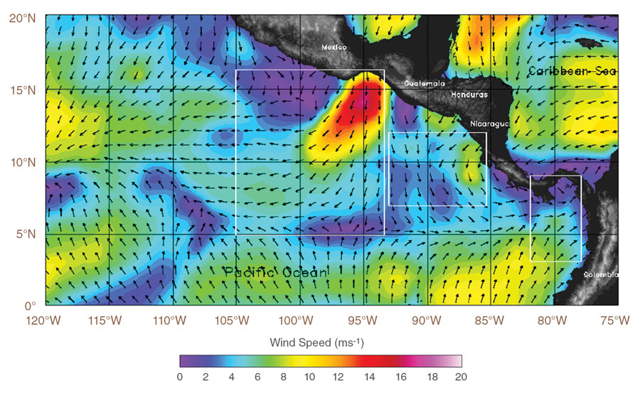 Data image showing windspeed and Tehuano winds, Gulf of Tehuantepec, Mexico