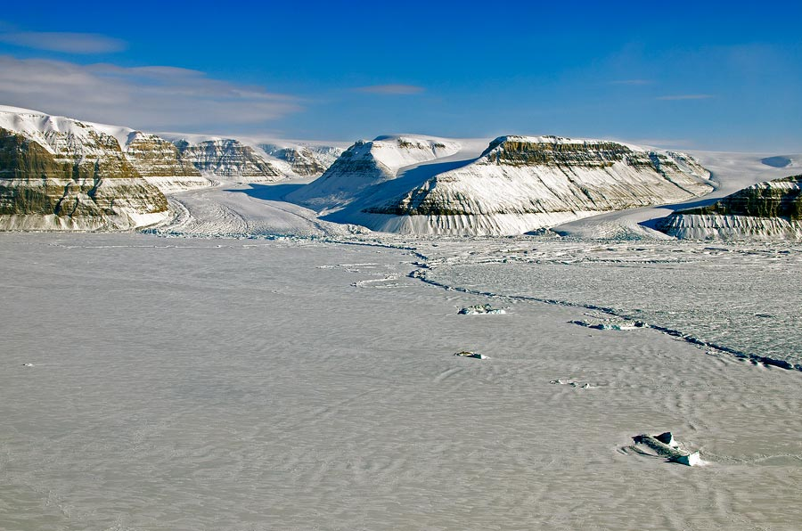 Photograph of the calving front of Petermann Glacier, Greenland