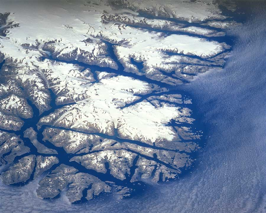 Aerial photograph of Greenland fjords