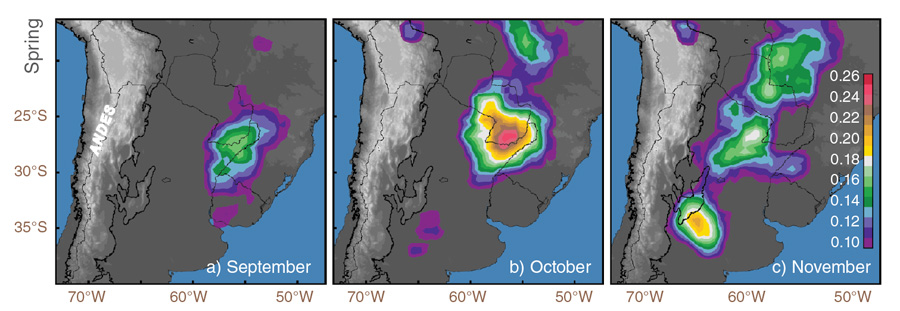 Data image showing lightning flash rate over Argentina