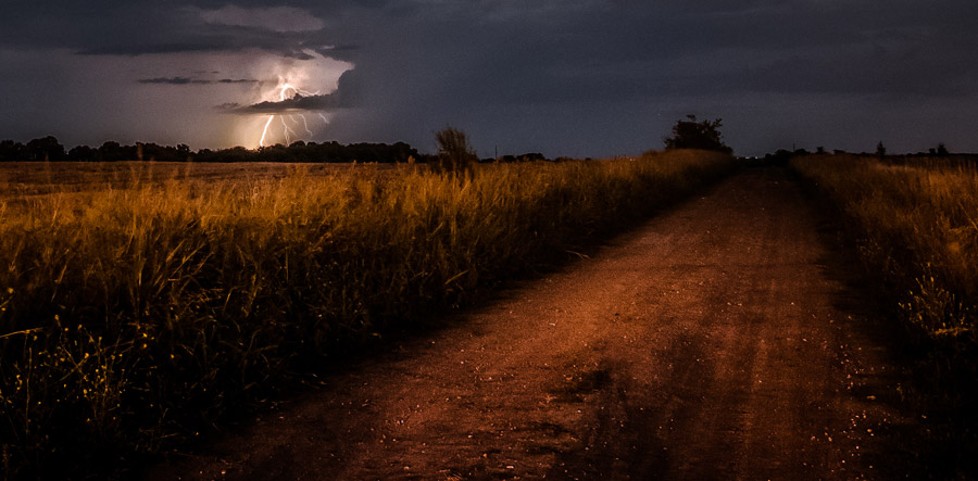Photograph of a thunderstorm and lightning over Argentina