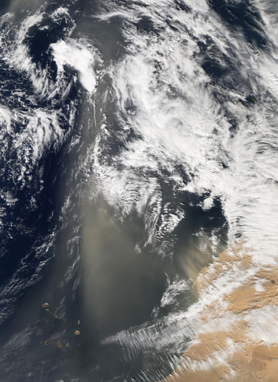 Satellite image showing Sahara dust sweeping across the Atlantic Ocean