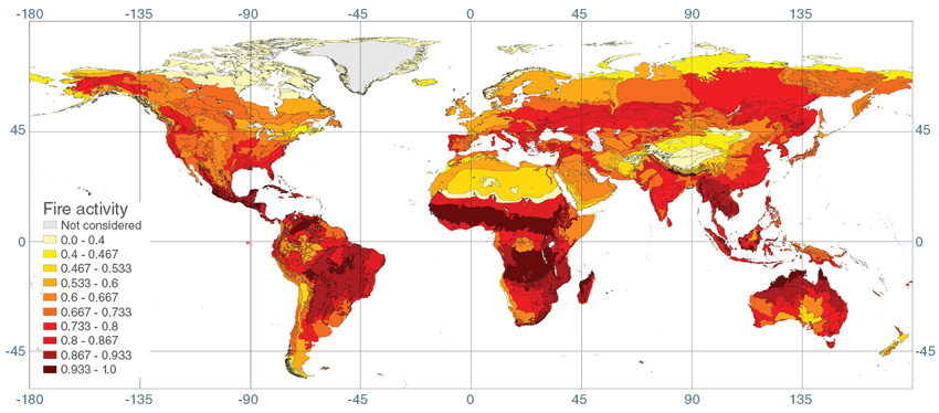 The image above shows a new ecologically-based global fire map derived from fire activity data, Net Primary Productivity (NPP) data, and Normalized Difference Vegetation Index (NDVI) data. The color intensity in each ecoregion represents an ecoregion's fire activity index (from 0 to 1, unitless). The NPP data set was developed by Marc Imhoff, former Terra project scientist at the NASA Goddard Space Flight Center, and colleagues. (Courtesy J. G. Pausas and E. Ribeiro, 2013, Global Ecology and Biogeography)