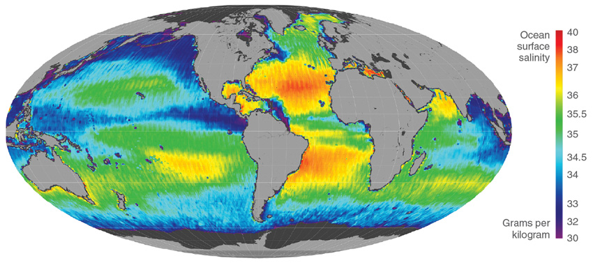 Data image showing global ocean color