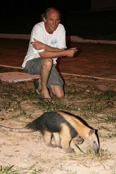 Dr. Christian Kummerow and an anteater in Alcantara, Brazil, as part of a tropical rainfall experiment.