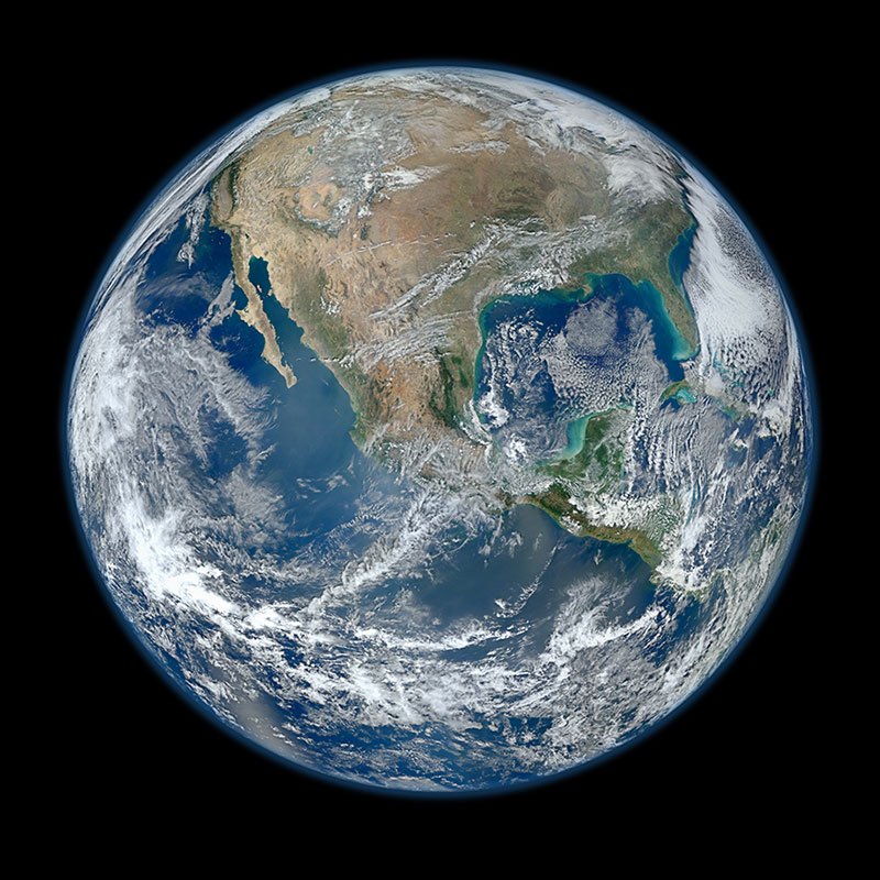 This image of the Western Hemisphere was created by NASA scientist Norman Kuring from VIIRS corrected reflectance (true color) data collected on January 4, 2012 over six orbits of the Suomi-NPP satellite. Image: NASA GSFC.