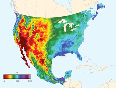 Data image showing total annual preciptation for the United States and Mexico for 2012