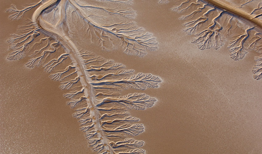 Aerial photograph of the dry Colorado River delta
