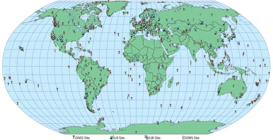 The figure illustrates the global networks of geodetic sites which consist of 440 GNSS receivers, 44 laser ranging sites, 45 VLBI stations, and 58 DORIS sites and provides the means of determining an accurate and global Terrestrial Reference Frame. Courtesy: CDDIS