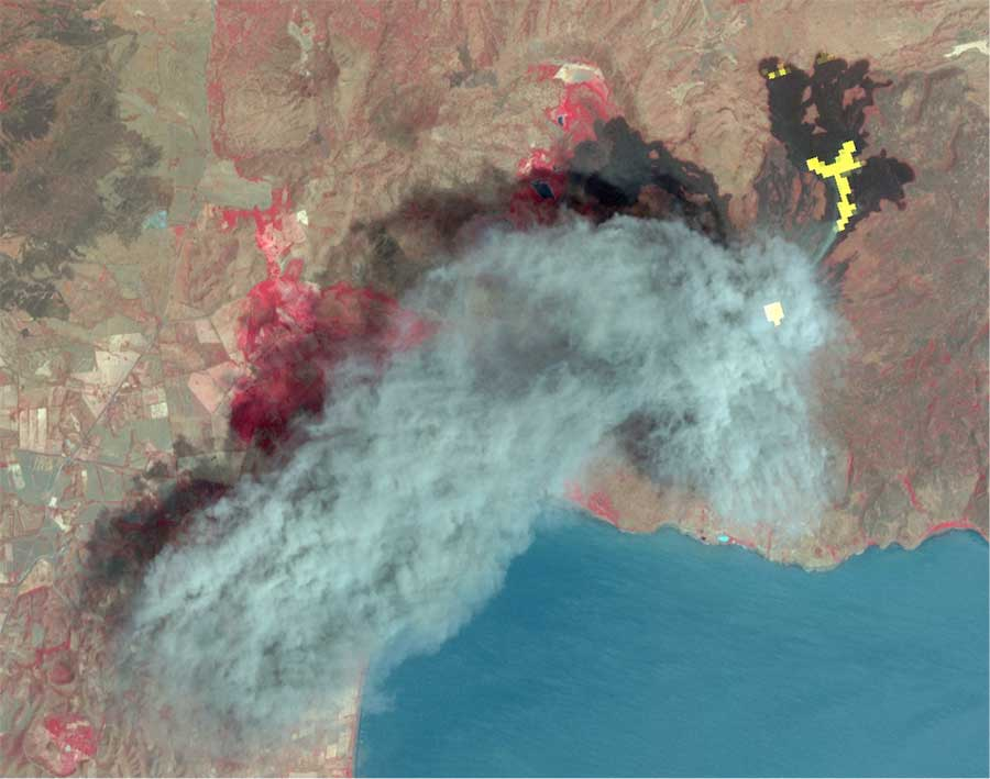 Eruption of Nicaragua's Momotombo Volcano. Ash plume in blue; new lava flow in yellow and hot summit crater in white from thermal channels; vegetation in red.
