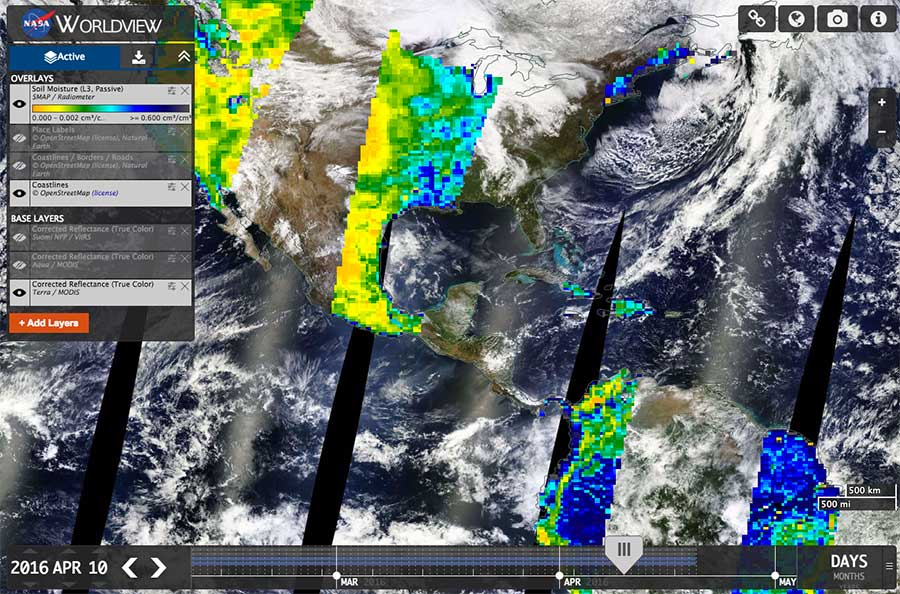 A NASA Worldview image of the SMAP Level 3 Soil Moisture, Passive (L3_SM_P) product from 10 April 2016. Image: NASA Worldview.