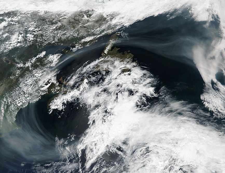 Smoke from western wildfires over the Atlantic Ocean
