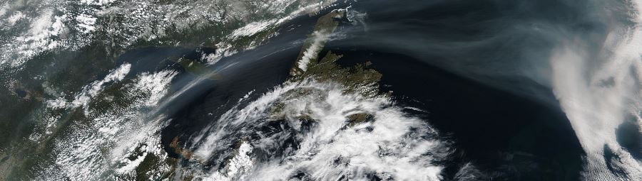 Smoke from western fires Atlantic Ocean cover
