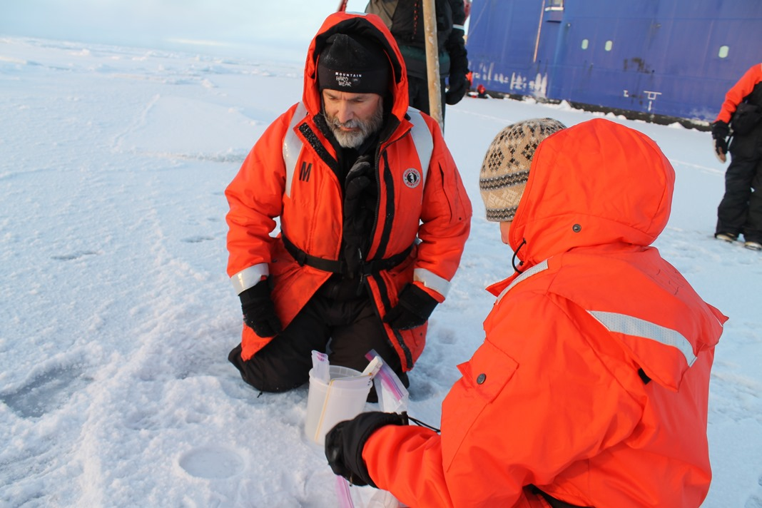 Ben Holt collecting Arctic sea ice data