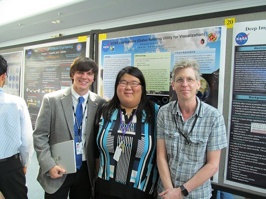 ESDIS Project interns Jacob Moore, Irene Su, and their mentor, Dr. Frank Lindsay