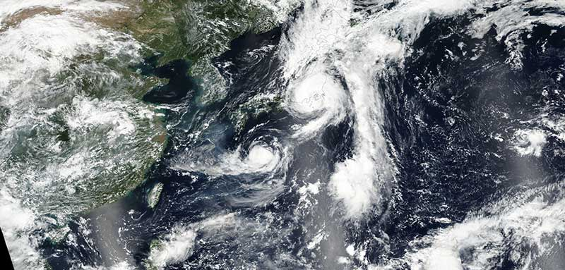Tropical Storm Mindulle over Japan and Tropical Storm Lionrock