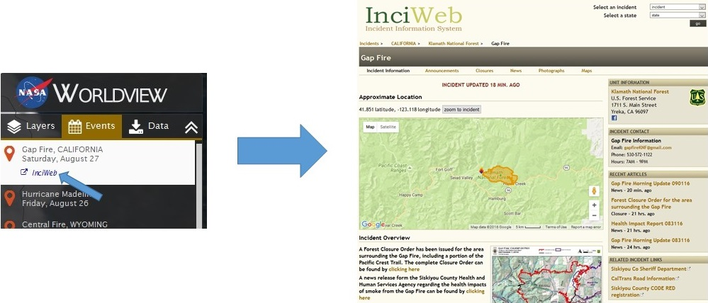 Clicking on the InciWeb link in the Gap Fire Event takes you to additional information about this event.