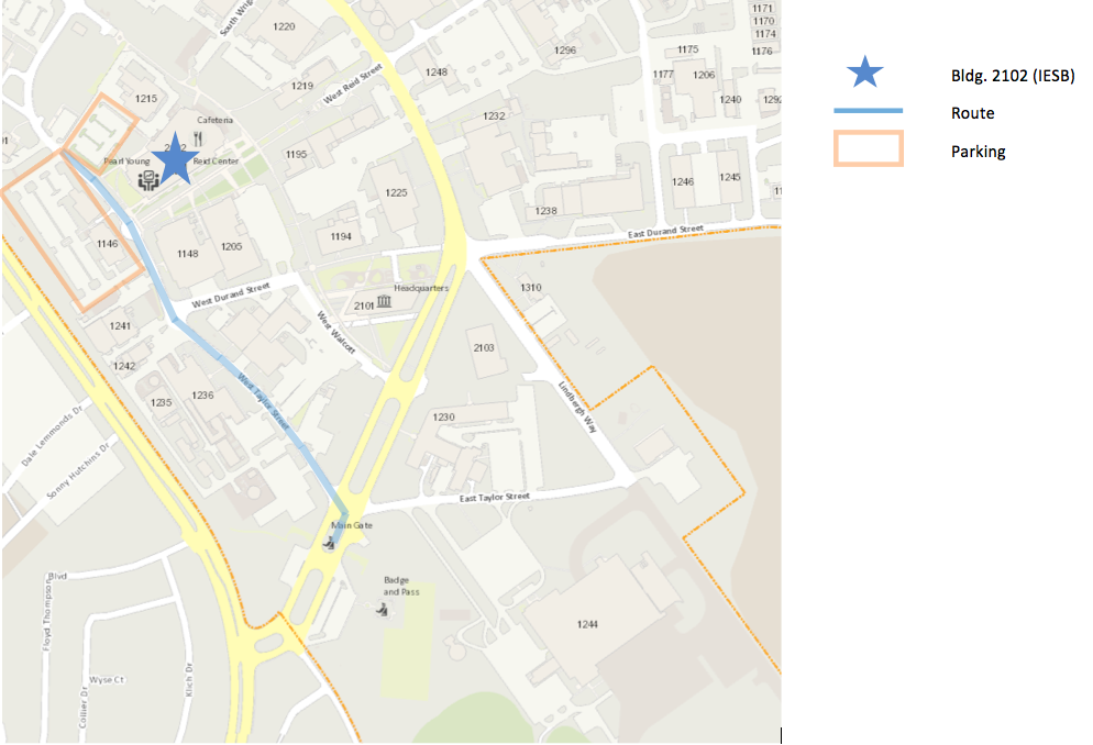 Map showing directions from the main gate to Reid Conference Center