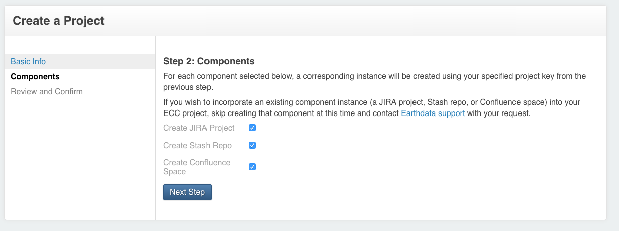 Selecting project components on the Earthdata Code Collaborative (ECC) project creation form.