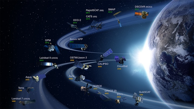 Image of NASA Earth observing satellites.