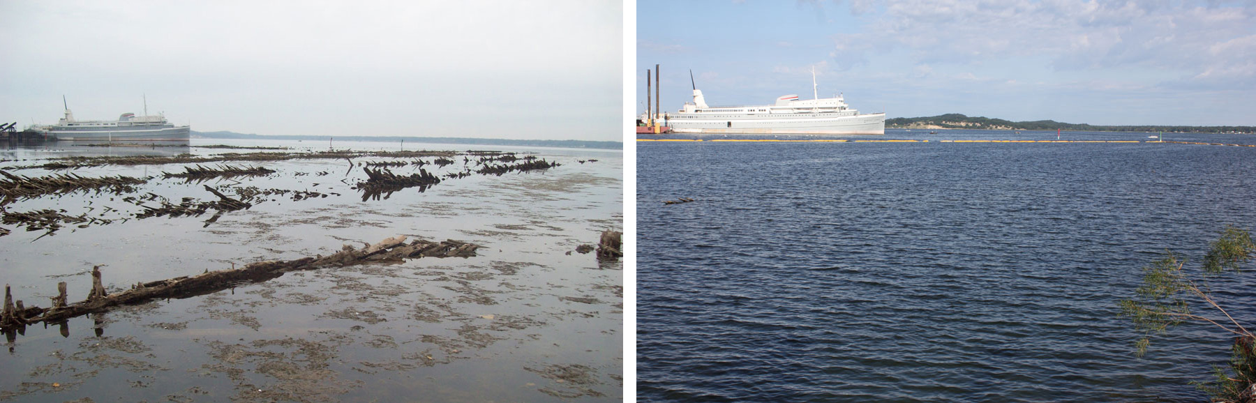 Photographs of Muskegon Lake shoreline, showing before and after restoration