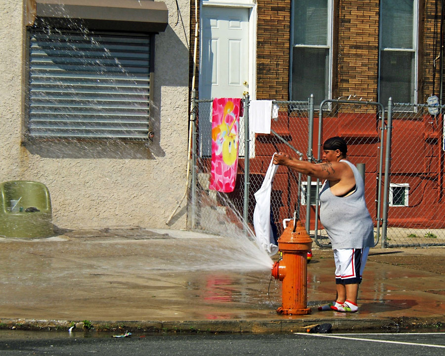 Photograph of water spraying out of a fire hydrant