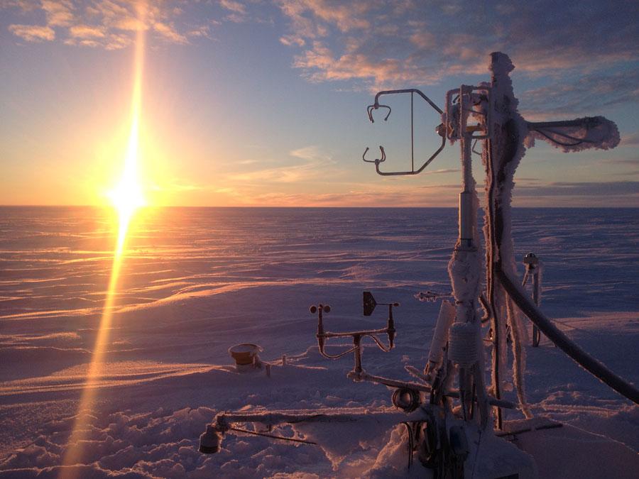 Photograph of an instrument tower in the Barrow, Alaska