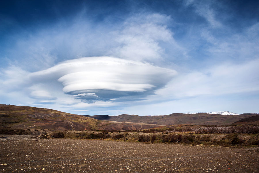 Photograph of large lenticular cloud over Torres del Paine National Park in Chile