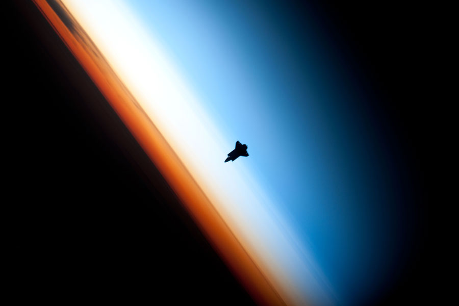 Photograph of the Space Shuttle Endeavour in space