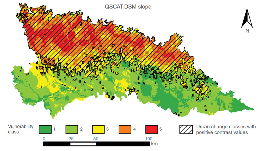 Data image showing groundwater vulnerability to nitrate contamination in Po Valley, Italy