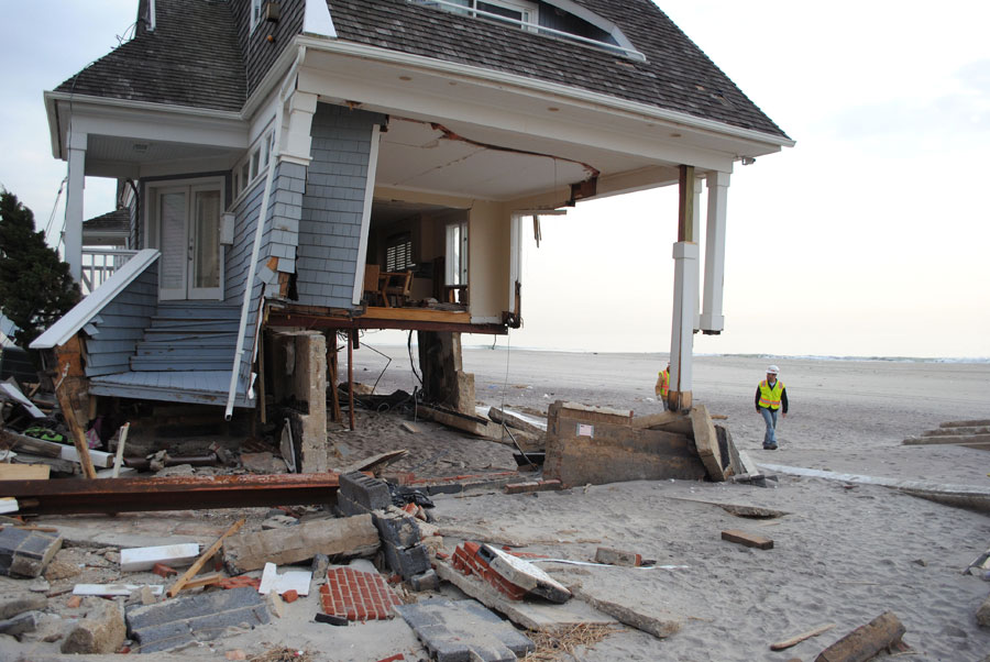 Photograph of what remains of a home in New York after it was damaged by Hurricane Sandy