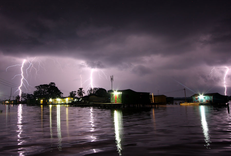 Photograph of lightning near a village at the mouth of the Catatumbo River in Venezuela