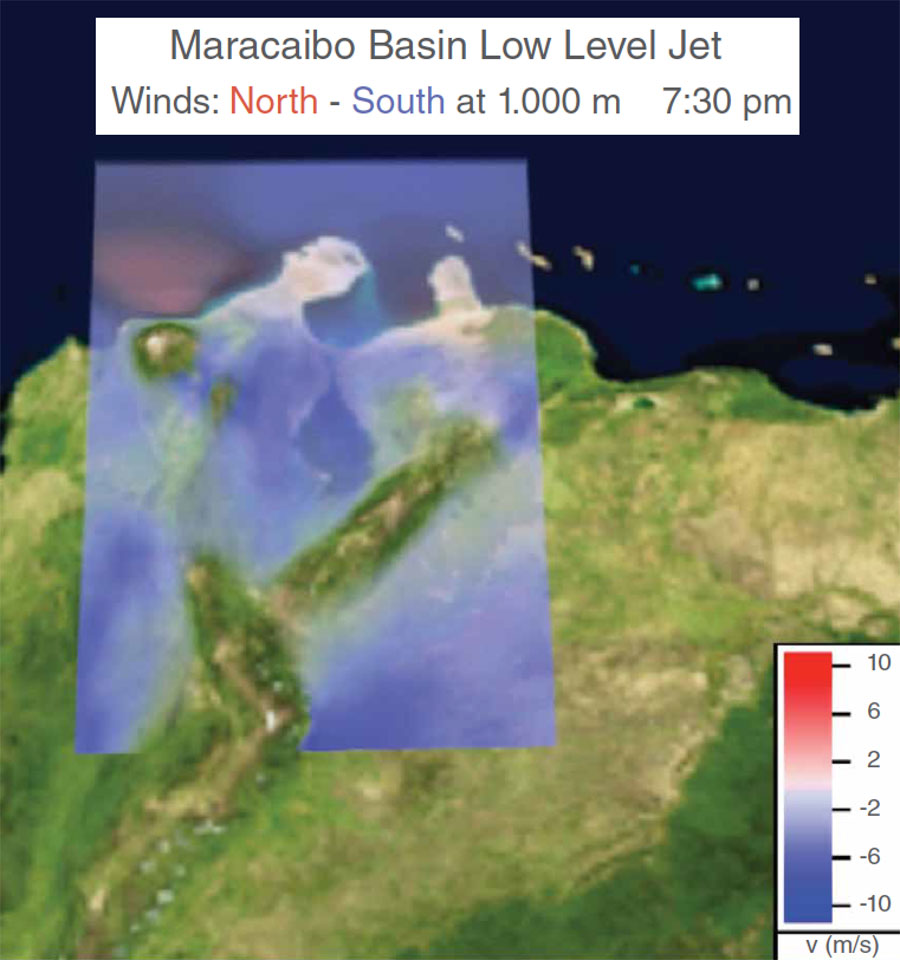 Data image showing wind speeds and direction in the Maracaibo region