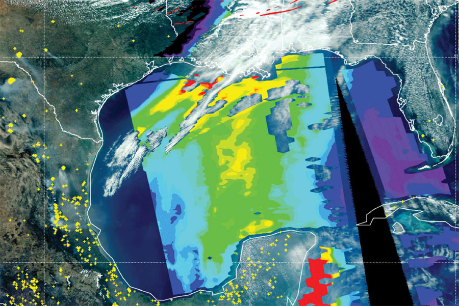 Data image showing smoke from the Yucatan Peninsula wafting up across the southeastern U.S.