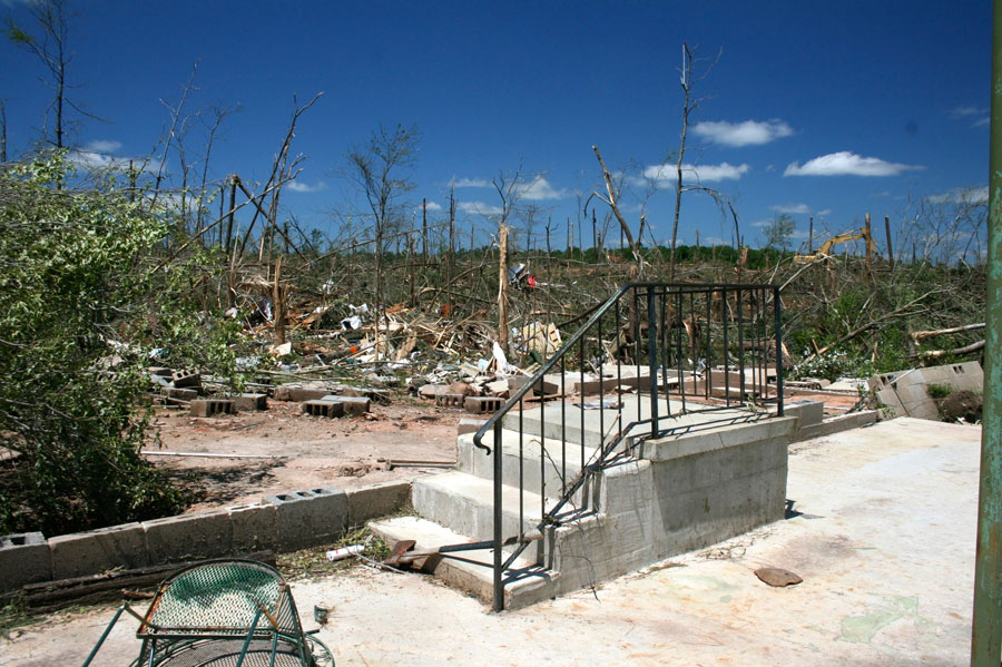 Photograph of devastation after a tornado hit Lake Martin, Alabama