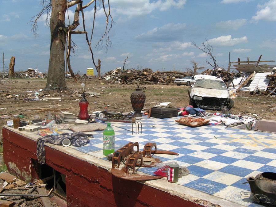Photograph of devastation after a tornado hit Hackleburg, Alabama