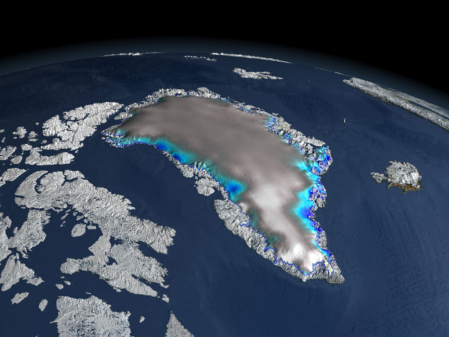 Data visualization of changes in ice elevation of the Greenland Ice Sheet