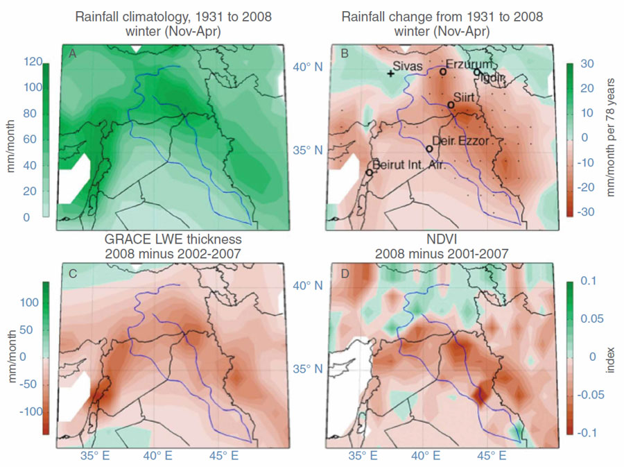 Four maps showing changes in precipitation, winter rainfall, groundwater, and vegetation across the Fertile Crescent between 1931 and 2008