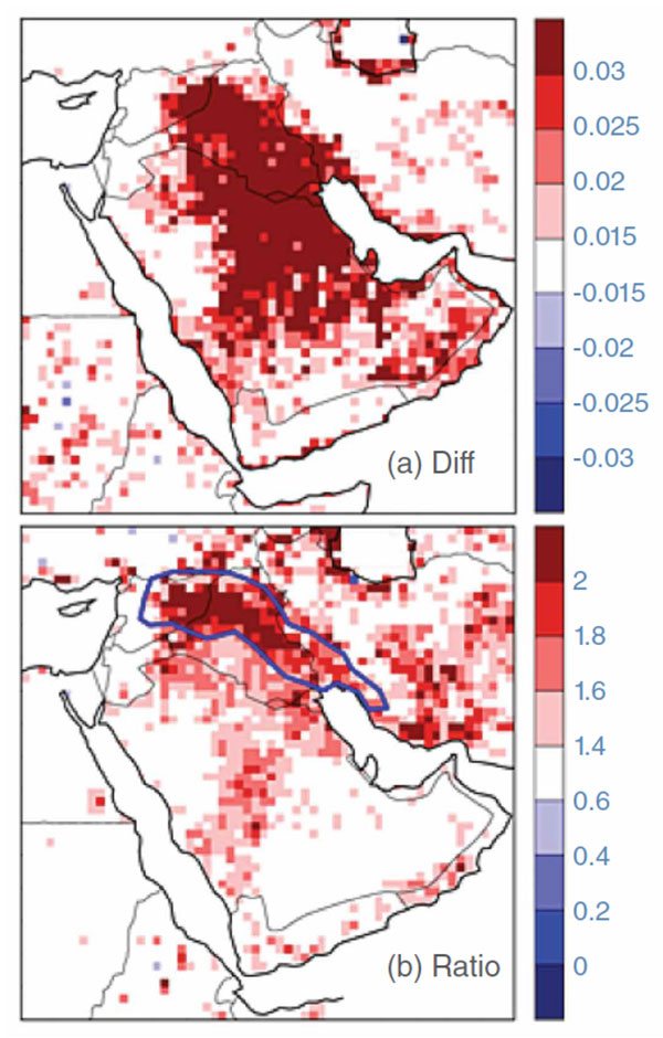 Two plots mapping dust activity across the Arabian Peninsula between 2001 to 2005 and 2008 to 2012