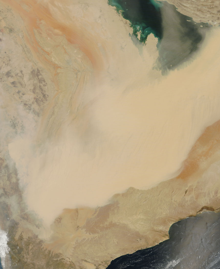 Satellite image showing a sandstorm sweeping across the Arabian Peninsula